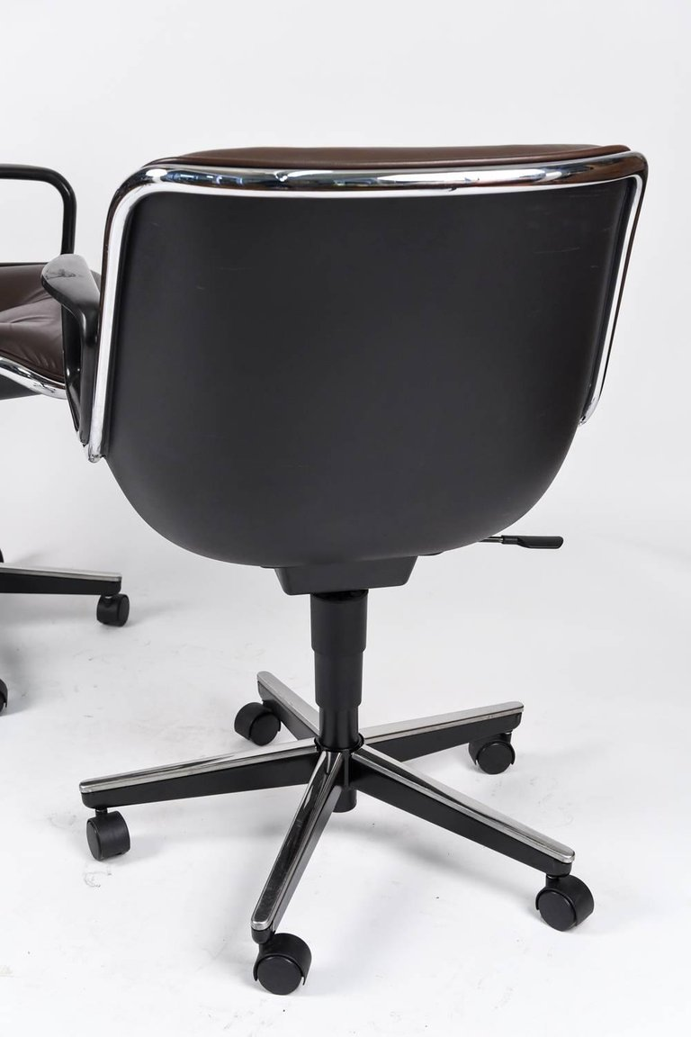 Six Charles Pollock For Knoll Executive Office Chairs In Brown Leather