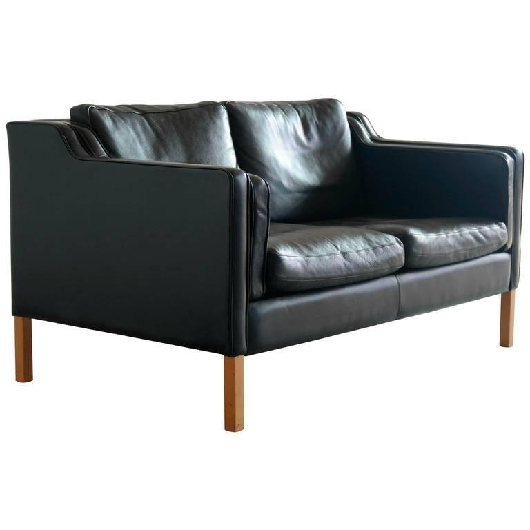 B??rge Mogensen Model 2212 Style Two-Seat Sofa in Black Leather by Stouby