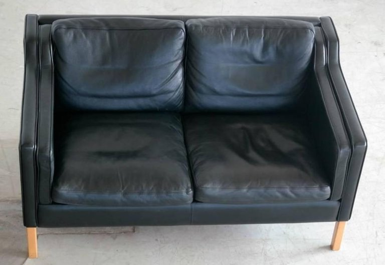 B Rge Mogensen Model 2212 Style Two Seat Sofa In Black Leather By