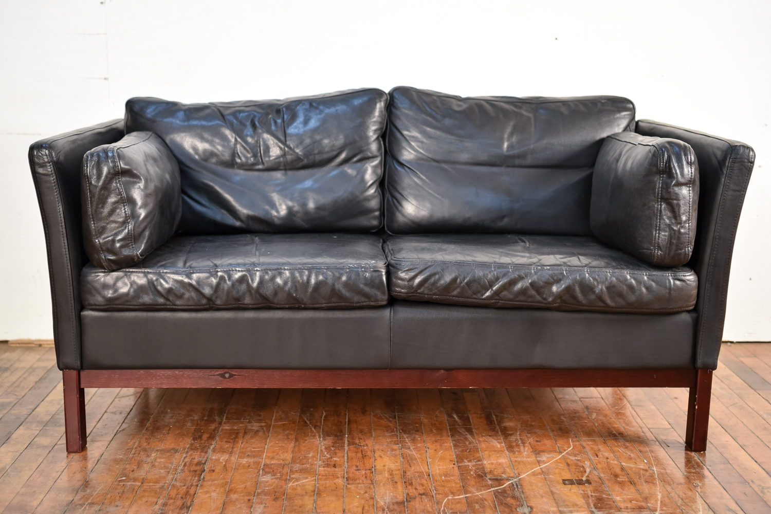 Danish Black Aniline Leather Two Seat Sofa By Mogens Hansen 1960s