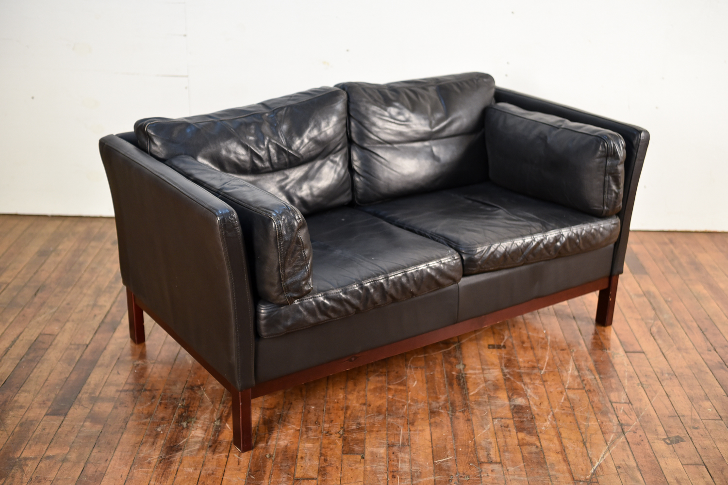 Danish Black Aniline Leather Two-Seat Sofa by Mogens Hansen, 1960s