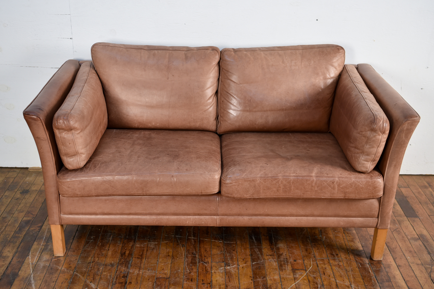 Danish Leather Sofa By Mogens Hansen 1960s