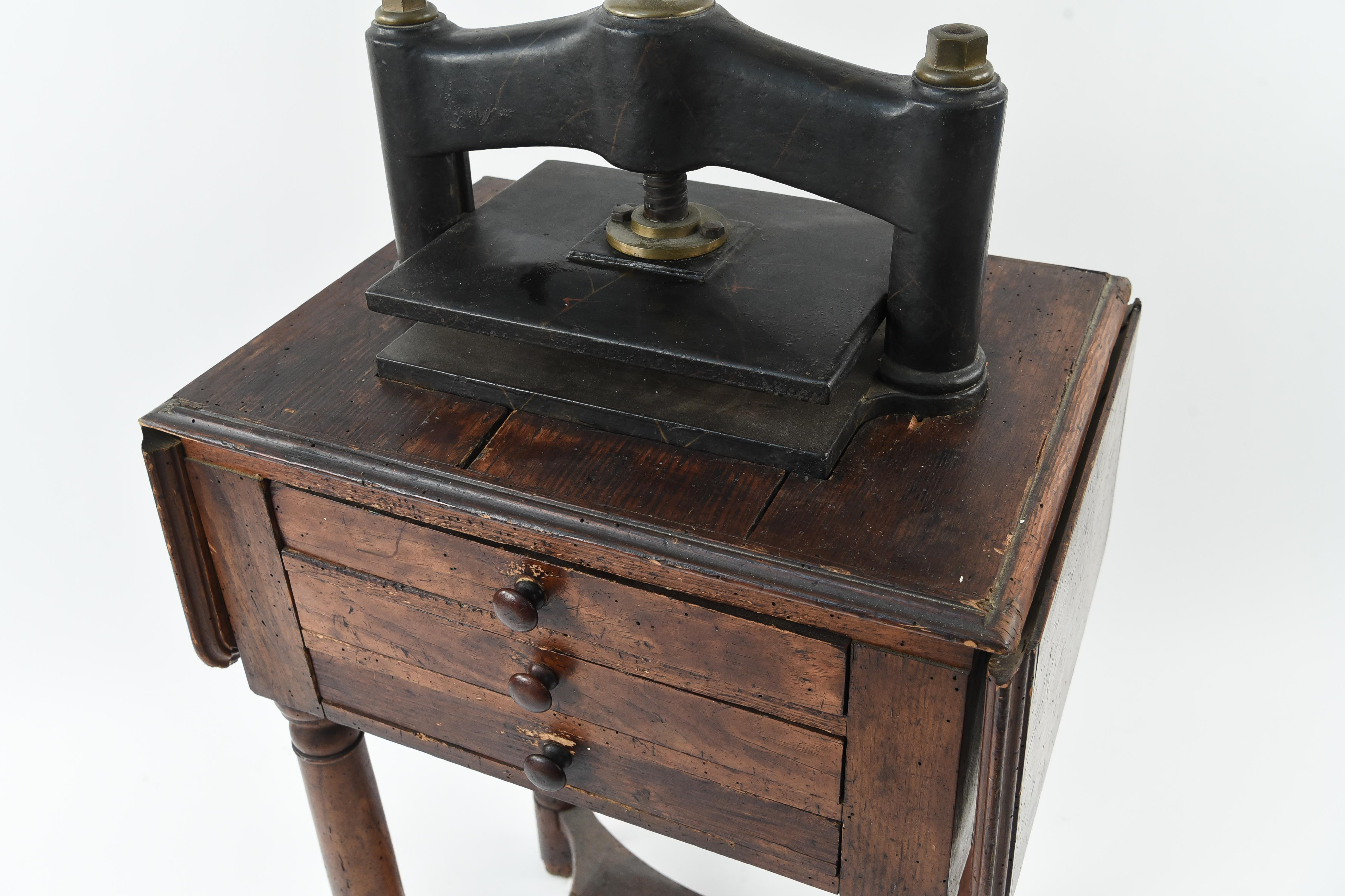 Antique 19th Century Book Press on Work Table - West Port ...